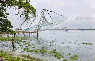 Tradional Chinese fishing nets in Cochin, Kerala, India