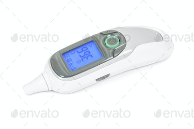 Digital infrared thermometer on white background