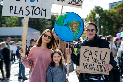 People with placards and posters on global strike for climate change