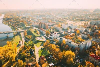 Grodno, Belarus. Aerial Bird's-eye View Of Hrodna Cityscape Skyline. Franciscan Monastery -