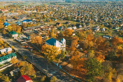 Kobryn, Brest Region, Belarus. Cityscape Skyline In Autumn Sunny Day. Bird's-eye View Of Church