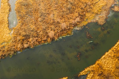 Aerial View Of Dry Grass On Coast And Partly Frozen River Landscape In Late Autumn Day. High