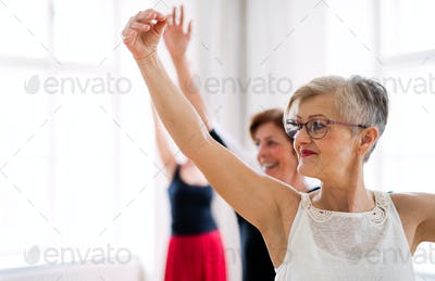Group of female seniors in dancing class with dance teacher