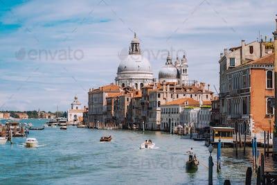 Venice, Italy. Impressive view of Grand Canal and Basilica Santa Maria della Salute