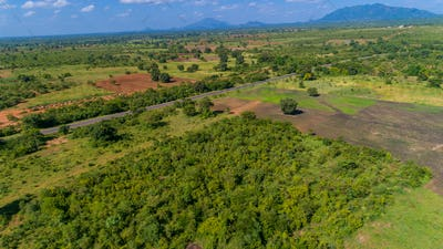 Aerial view of endless lush pastures and farmlands of morogoro town, Tanzania