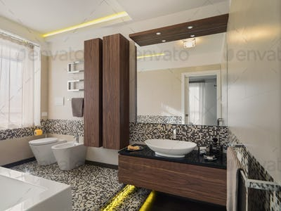 Interiors of the Modern Bathroom with Mosaic
