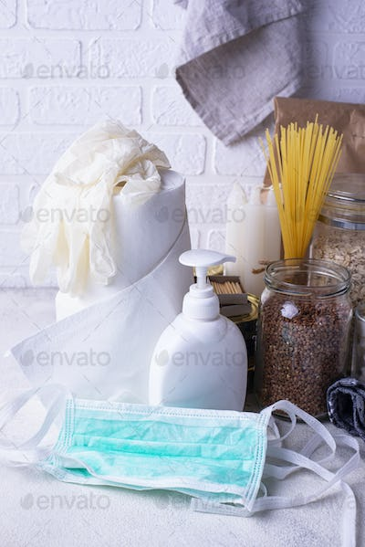 Set of products for the coronavirus pandemic