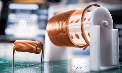 Close-up A lot of skeins of twisted copper wire