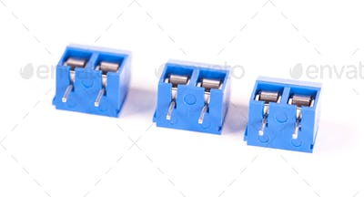 Close-up small blue connector parts