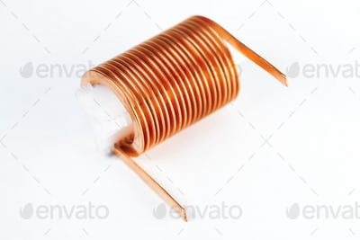 Close-up flat twisted copper wire