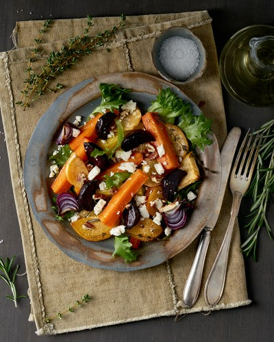 Vegetarian salad sheep cheese, baked roasted vegetables, keto ketogenic dash diet.