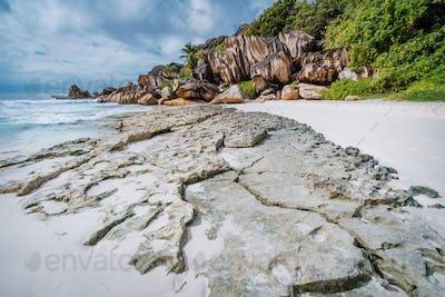 Impressive rocky landscape on famous La Digue island, Seychelles