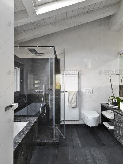 Interiors of the Modern Bathroom in the Attic Room