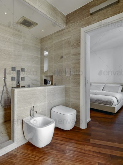 Interiors of the Modern Bathroom with Wood Floor
