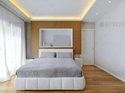 Interiors of the Modern Bedroom with Wood Floor