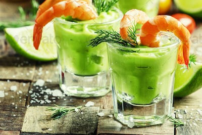 Shrimp cocktail with avocado sauce and lime