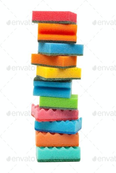 Coloured kitchen sponges