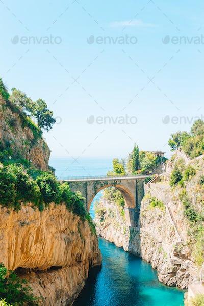 Famous fiordo di furore beach seen from bridge