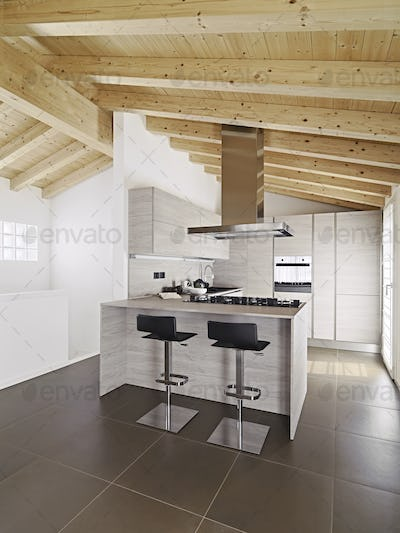 Interiors of the Modern Kitchen with Island Kitchen