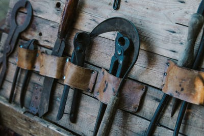 close up on old tools for torture