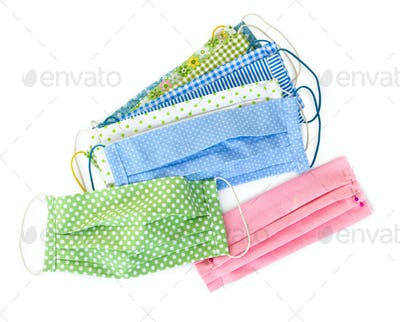 Handmade multicolored fabric reusable protective medical masks.