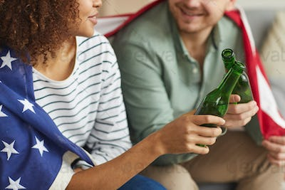 American Couple Drinking Beer Close Up