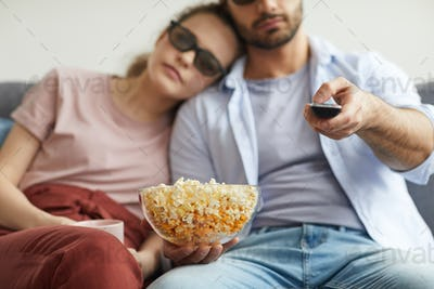 Couple Watching 3D Movie at Home Close up