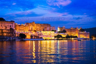Udaipur City Palace in the evening view. Udaipur, India