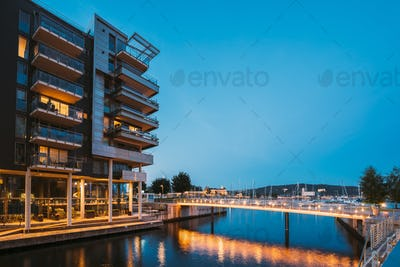 Oslo, Norway. Night View Of Residential Multi-storey Houses In Aker Brygge District. Summer Evening