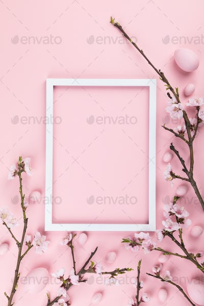 Easter Flowers composition. Traditional decoration easter concept, pattern.