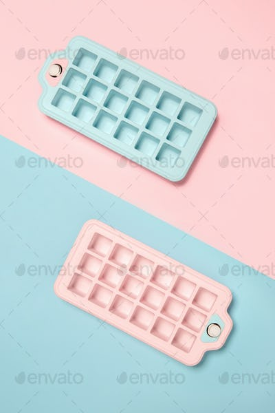 Ice forms. Monochrome stylish composition in blue and pink colors. Top view, flat lay