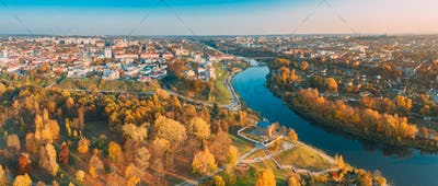 Grodno, Belarus. Aerial Bird's-eye View Of Hrodna Cityscape Skyline. Famous Popular Historic