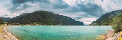 Bargarden Nature Reserve, Norway. Beautiful Fjord, Lake In Summer Day. Norwegian Nature. Panorama