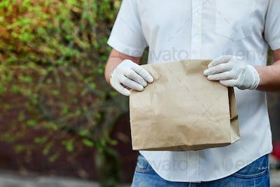 Delivery service under quarantine during the coronavirus epidemic.