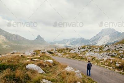 man travel mountains landscape