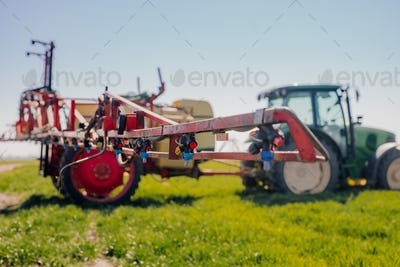 View of Tractor Ready to Spraying Herbicides