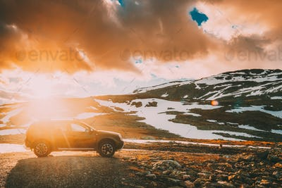 Aurlandsfjellet, Norway. Car SUV Parked Near Aurlandsfjellet Scenic Route Road In Summer Norwegian