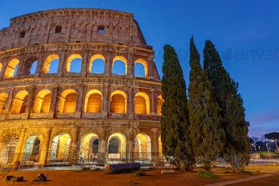 The illuminated Colosseum in Rome