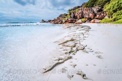 Grande anse beach, La Digue island, Seychelles. Leading line formation granite rocks