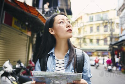 Woman looking perfect place for sightseeing