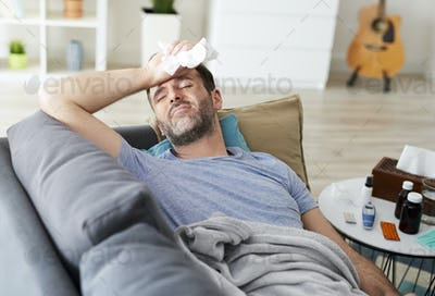 Man with a flu feeling so bad