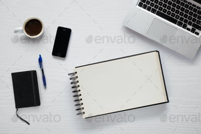 Mockup with objects related to work from home, writing and drawing