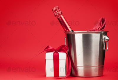 Champagne bottle and gift box