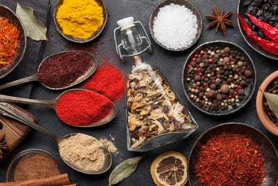 Various spices in bowls and spoons