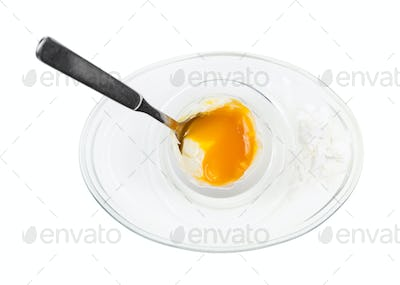 top view of open egg with spoon in glass egg cup