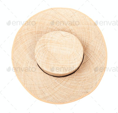 top view of straw hat with black band on crown