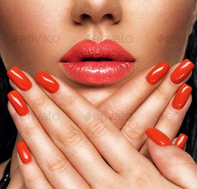 Closeup sexy female lips with red lipstick