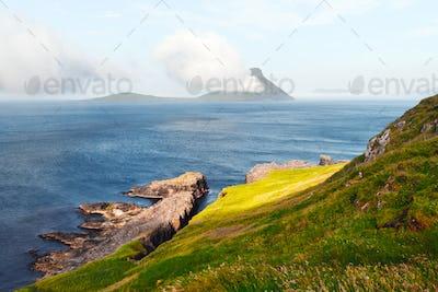 Morning view onto the Faroese island Koltur