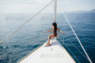woman yachting relax on vacations