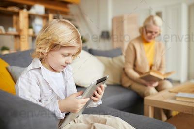 Little boy using tablet pc